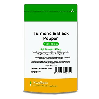 Turmeric and Black Pepper Tablets (100/ 200/ 365) not Capsules 2500mg - Nordhaus