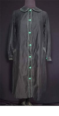 Antique Collector's Edwardian-1920'S French Black Cotton Work Dress Size Small