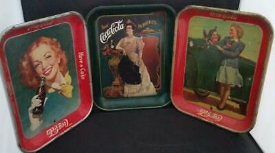LOT of 3 Vintage ORIGINAL Coca Cola Trays 1940's and 75th Anniversary Numbered