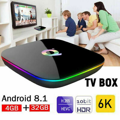 NEW Q Plus Android 8.1 TV BOX 4GB+32GB/64GB H6 Quad Core 6K HD Media Player