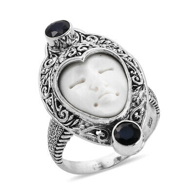 Bali Goddess Collection Carved Bone, Madagascar Blue Sapphire Ring in Sterling S