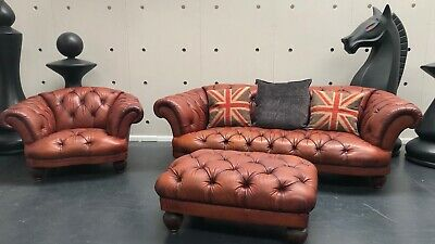 Tetrad Oskar Suite Sofa Chair Footstool Antiqued Leather Chesterfield Rrp £4790