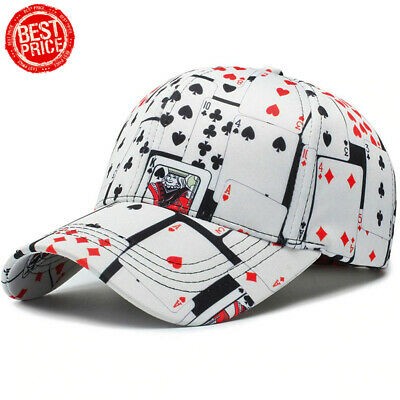 Mens Baseball Cap Cotton Poker Print Ball Dad Trucker Caps For Adult Men Women