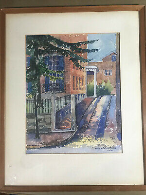 """Helen Wightman 1936 """"Street Scene"""" Watercolor Painting - Signed And Framed"""