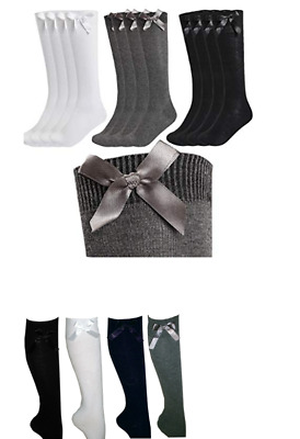 3 Pair Girls Fashion Cotton Knee High Children Kids School Socks With Bow Size