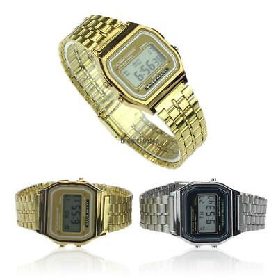 Men Stainless Steel Band LCD Digital Wrist Watch Sport Square Quartz BRCE 04