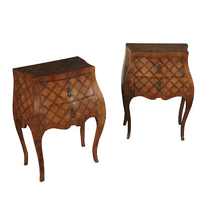 Pair of Revival Serpentine Nightstands Italy First Half of 1900s