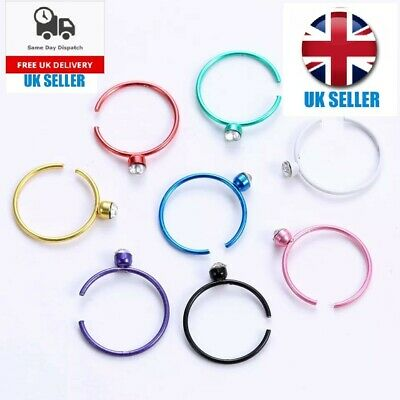 Nose Ring Fake Hoop Silver Gold Multi colour 9mm Surgical Steel Thin Piercing