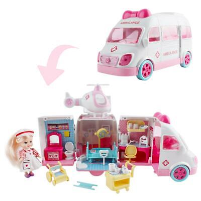 deAO 2-in-1 Transforming Doll House Play Set Toy Best Gift for Kids (Ambulance)