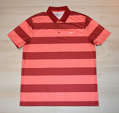 7017f45b Nike Men's VICTORY BOLD STRIPE POLO Dri Fit Golf S/S Red-Pink Heather