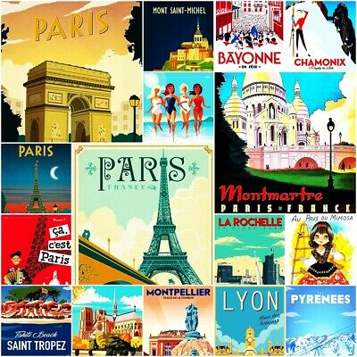 Paris France Monaco Fridge Magnet Poster Vintage Retro Art gift Travel SET 2