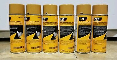 6 (six) CANS OEM NEW CATERPILLAR CAT YELLOW PAINT AEROSOL SPRAY CANS 458-9587