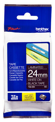 Brother TZE355 Laminated tape 24mm Labels White on black x 8m