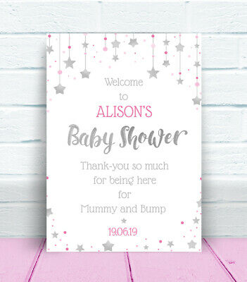 Welcome to the Baby Shower Personalised Table Sign & Poem, Poster Pink Blue