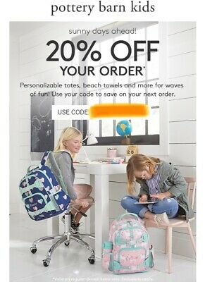 *** Pottery Barn Kids 20% off Entire Order Online/In Stores (Exp 5/20/2019)