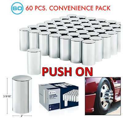"(Set/60) Chrome Cylinder Lug Nut Covers 33mm Push-On (3-1/2"" Tall) 60-Pack"