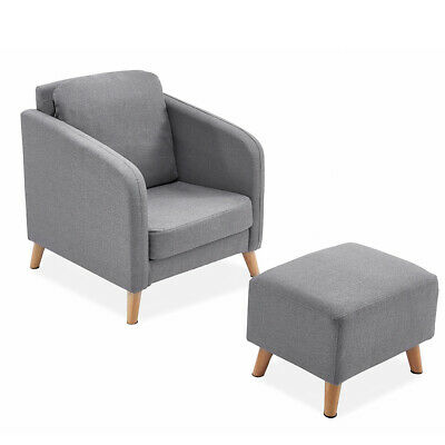 Grey Dressing Table Padded Footstool Footrest Chair Stool Seat Wooden Legs