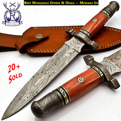 Beautiful Custom Hand Made Damascus Steel Hunting Dagger Knife Handle Red Bone