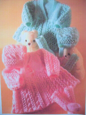 Baby Girls CABLE JACKET CARDIGAN BONNET KNITTING PATTERN DK 14 - 18in Prem - 6m