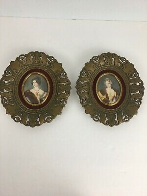 Vintage Cameo Creation Small Framed Victorian Lady Portrait Art Set of 2 Velvet