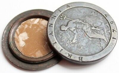 Cartwheel Penny - Twopence Coin - 1797 Snuff / Smugglers Box - Antique - Rare