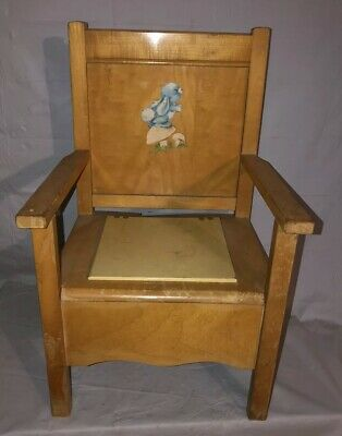 Vintage Wooden Toddler Potty Chair with Lid Blue Bunny