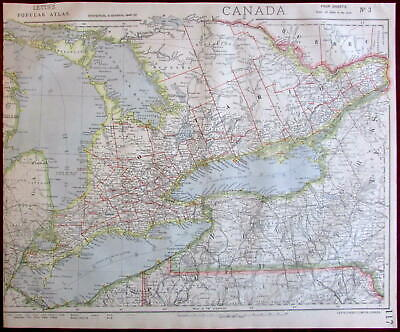Canada Great Lakes Huron Erie Ontario New York 1883 Lett's detailed SDUK plan