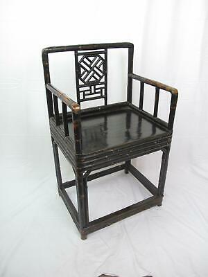 Antique CHINESE Mid-19th Century QING Dynasty Bamboo & Lacquer Chair