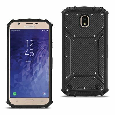 Reiko SAMSUNG GALAXY J3 (2018) Carbon Fiber Hard-shell Case In Black