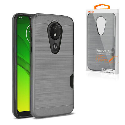 Reiko MOTOROLA MOTO G7 PLAY Slim Armor Hybrid Case With Card Holder In Gray