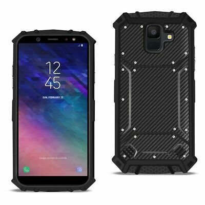 Reiko Samsung Galaxy A6 Carbon Fiber Hard-shell Case In Black
