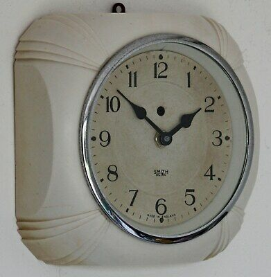 Vintage 17cm Smiths Sectric Bakelite Wall Clock - Cream Retro Art Deco Gift
