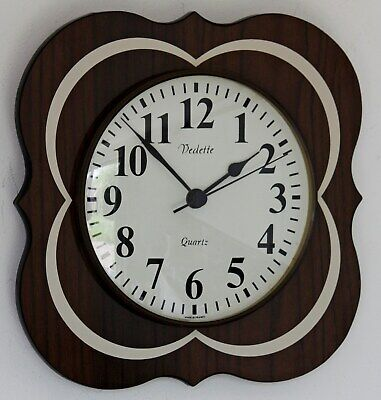 Vintage 25cm Vedette Wall Clock - Retro 70s French Wooden Living Room Gift