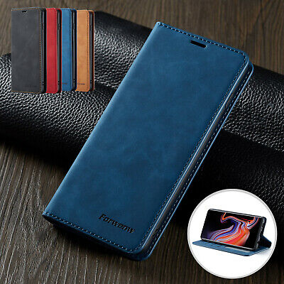 For Samsung Galaxy S10 S9 Plus Case Magnetic Flip PU Leather Wallet Folio Cover