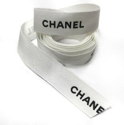 """Authentic Chanel White Black Grosgrain Ribbon Wide 1.2 Yards, 45"""" In x 1"""" W"""