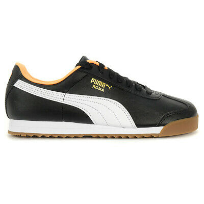 PUMA Men's Roma Basic Puma Black-Orange Pop Shoes 35357297 NEW!
