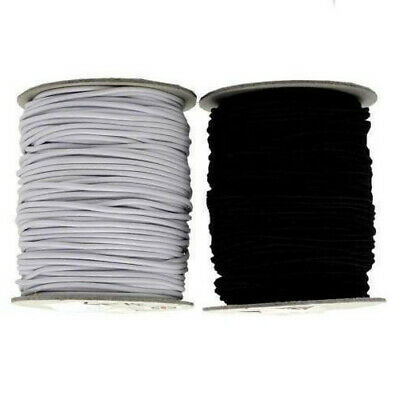 Round Hat Elastic 1mm,1.5mm, 2mm 3mm Hats Jewellery Crafts Beading - Black/White