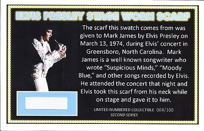 Elvis Presley Owned Stage Worn Scarf Swatch - Mark James - Suspicious Minds!