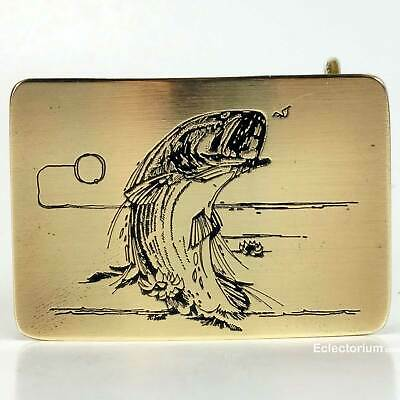 Large Mouth Bass Belt Buckle Rainbow Trout Fly Fish Ampersand Brass USA Vintage