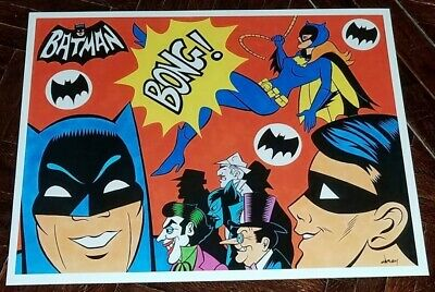 BATMAN & BATGIRL '67 TV ART PRINT 11x14 by PATRICK OWSLEY! WEST WARD CRAIG!
