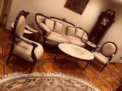 7p LIkeNew Rococo Living Room set couch armchair coffee + side marble table