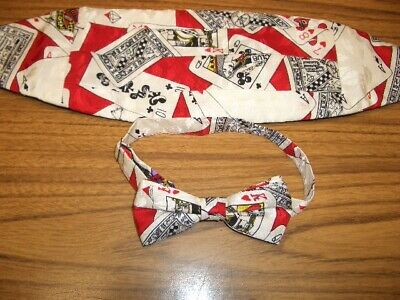 NOS 1990 New Nicole Miller Colorful Travel USA Cities CUMMERBUND /& BOW TIE SET