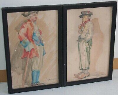 Small Antique 19th Century Pair of Watercolor Painting Noble Man Portrait