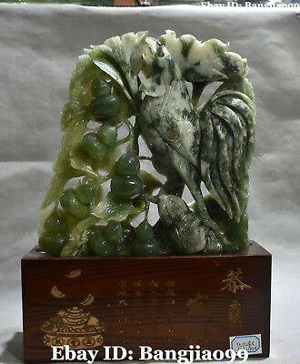 "15"" Chinese Natural Green Jade Gourd Cucurbit Calabash Rooster Chicken Chook"