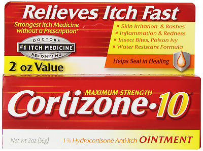 Cortizone 10 Maximum Strength Ointment, 2 Ounce, Anti-Itch Ointment for Poison