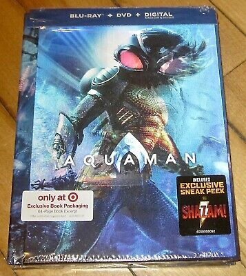 Aquaman 2019 Target Exclusive Edition Blu-ray/DVD/Dig w Lenticular Cover + Book