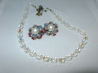 Vintage glass crystal faceted bead necklace with aurora borealis pearl earrings