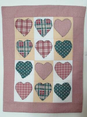 Primitive Calico Patchwork Doll Size Quilt / Wall Hanging - Applique Hearts