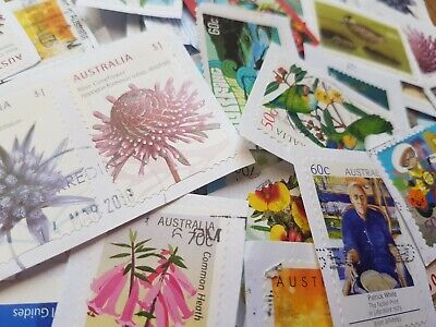 1010 Australian used stamps bulk high value ONLY 50c-$1 AND HIGHER kiloware