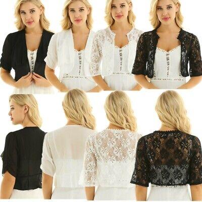 711adc497af9d Women's Chiffon/ Floral Lace Cardigan Open Front Bolero Shrug Shawl Cropped  Tops